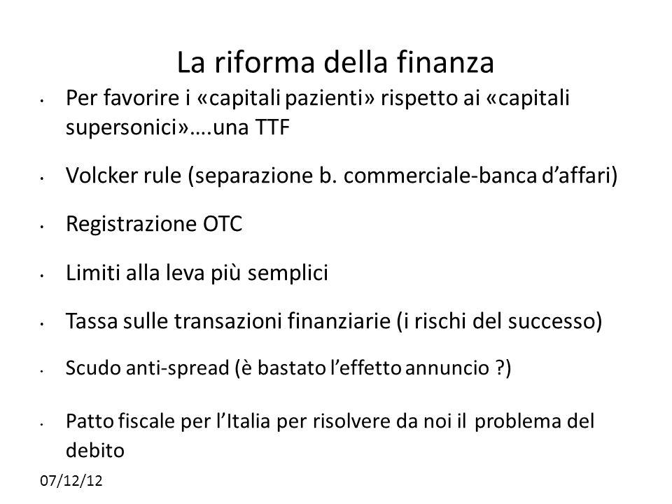 La riforma della finanza