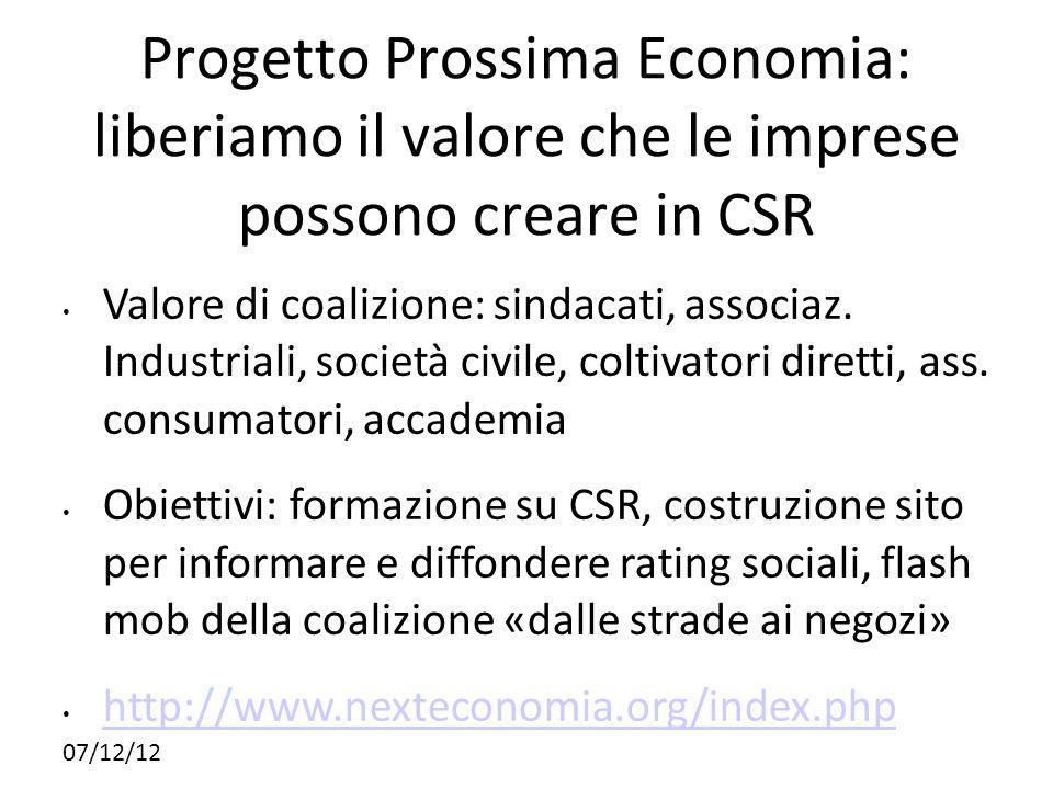Progetto Prossima Economia: liberiamo il valore che le imprese possono creare in CSR