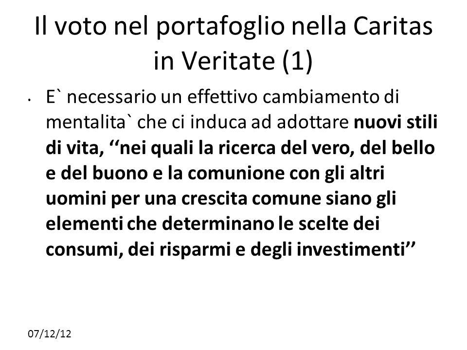 Il voto nel portafoglio nella Caritas in Veritate (1)