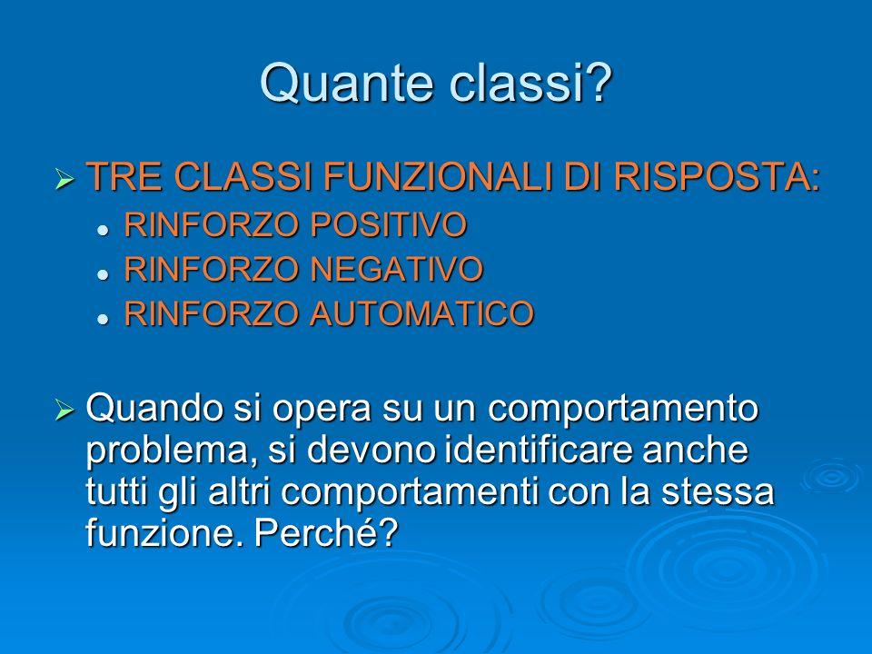 Quante classi TRE CLASSI FUNZIONALI DI RISPOSTA: