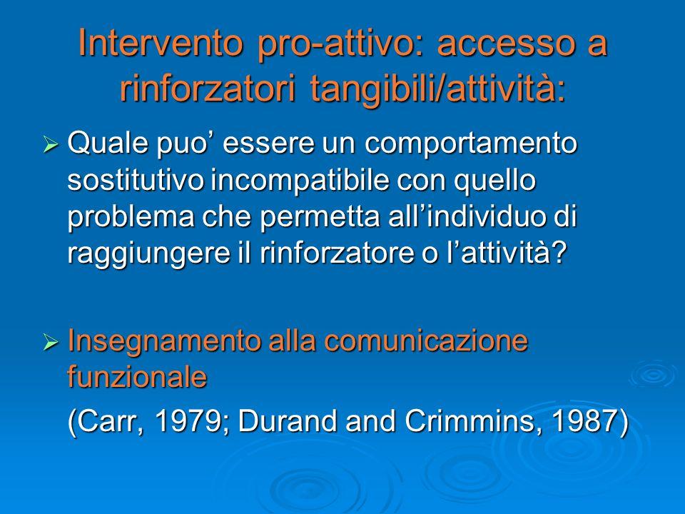 Intervento pro-attivo: accesso a rinforzatori tangibili/attività: