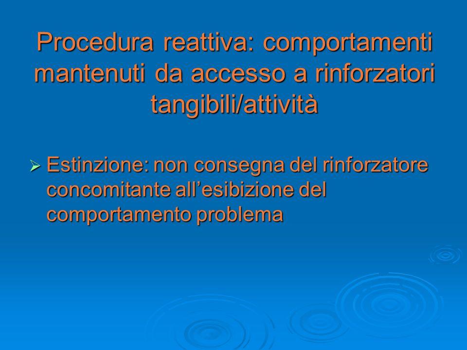 Procedura reattiva: comportamenti mantenuti da accesso a rinforzatori tangibili/attività