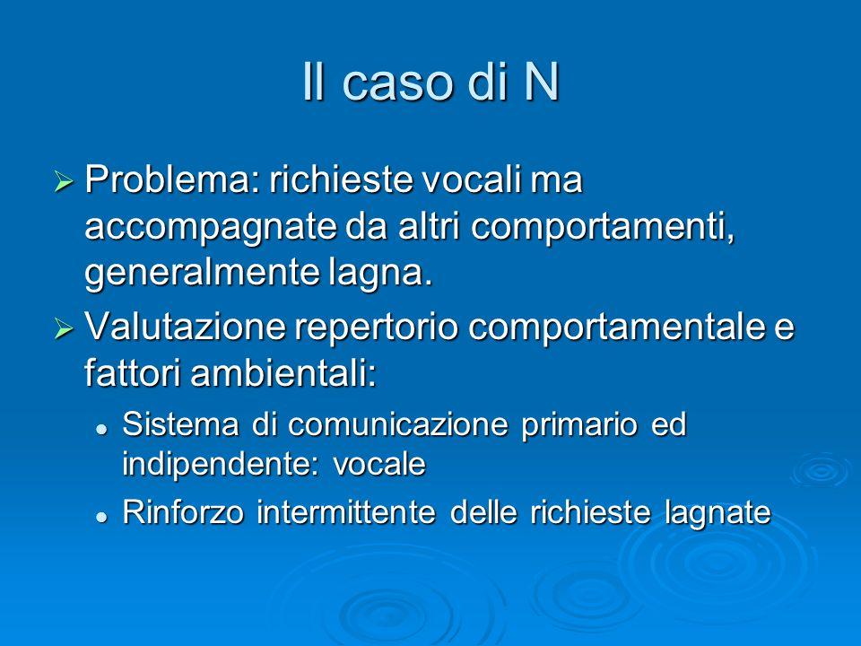 Il caso di N Problema: richieste vocali ma accompagnate da altri comportamenti, generalmente lagna.