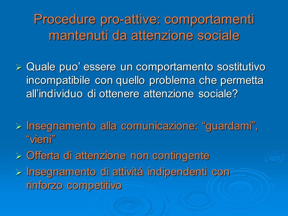 Procedure pro-attive: comportamenti mantenuti da attenzione sociale