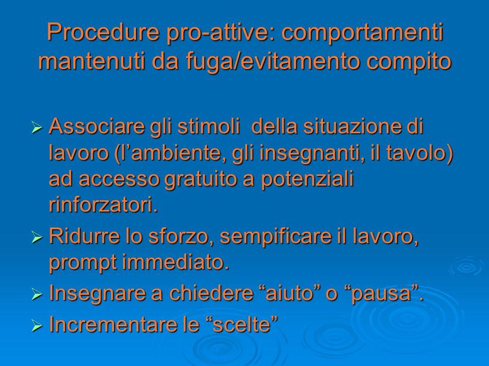 Procedure pro-attive: comportamenti mantenuti da fuga/evitamento compito