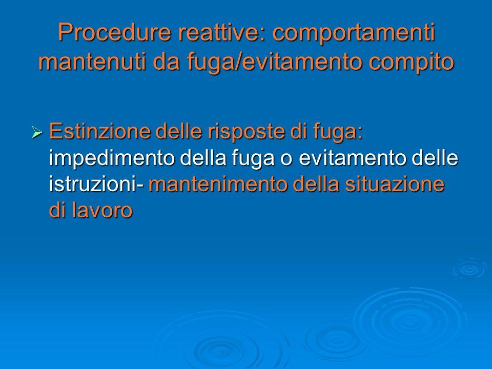 Procedure reattive: comportamenti mantenuti da fuga/evitamento compito