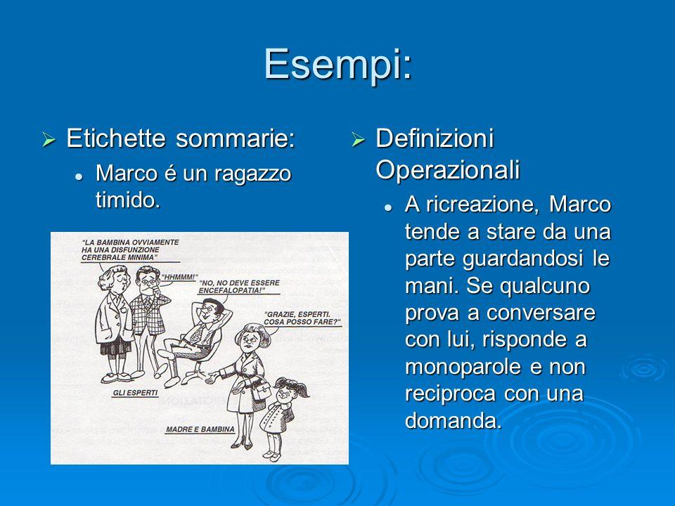 Esempi: Etichette sommarie: Definizioni Operazionali