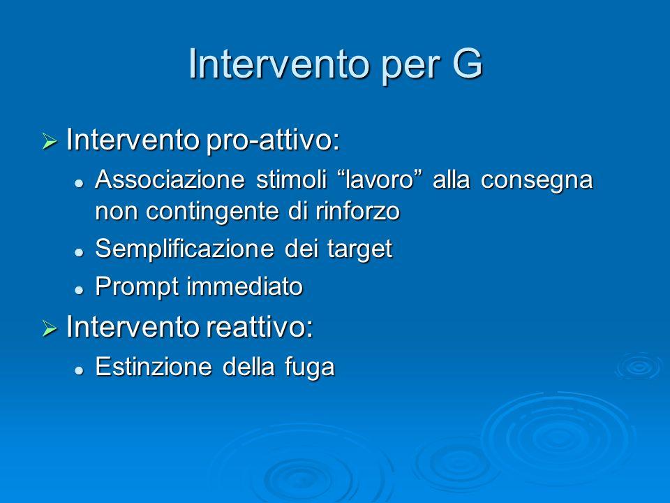 Intervento per G Intervento pro-attivo: Intervento reattivo: