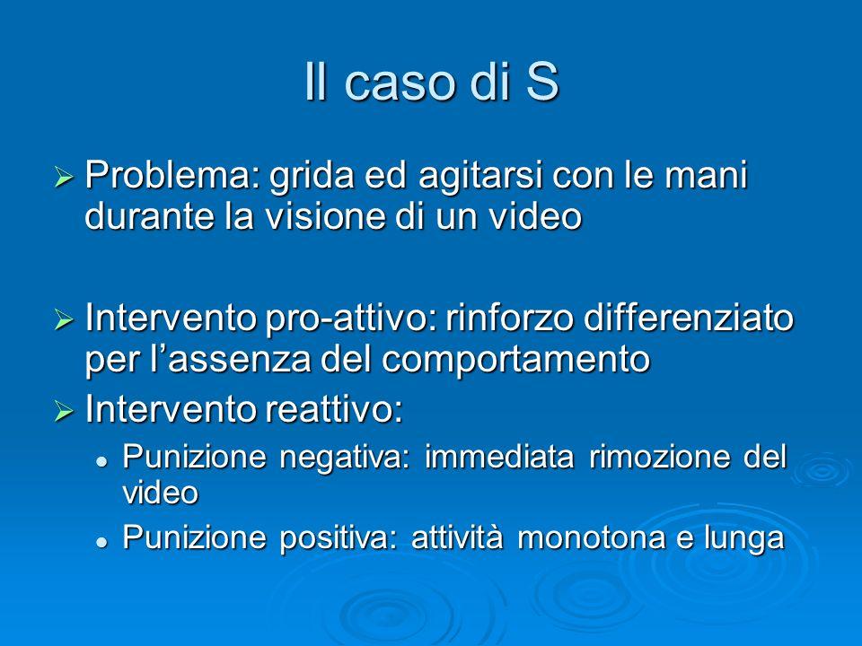 Il caso di S Problema: grida ed agitarsi con le mani durante la visione di un video.