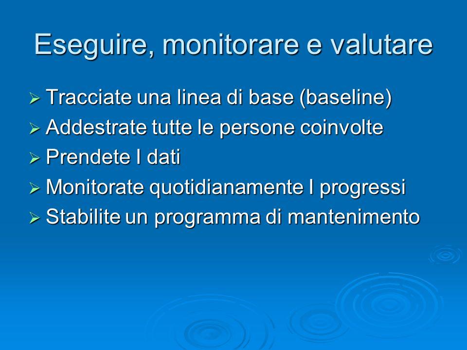 Eseguire, monitorare e valutare