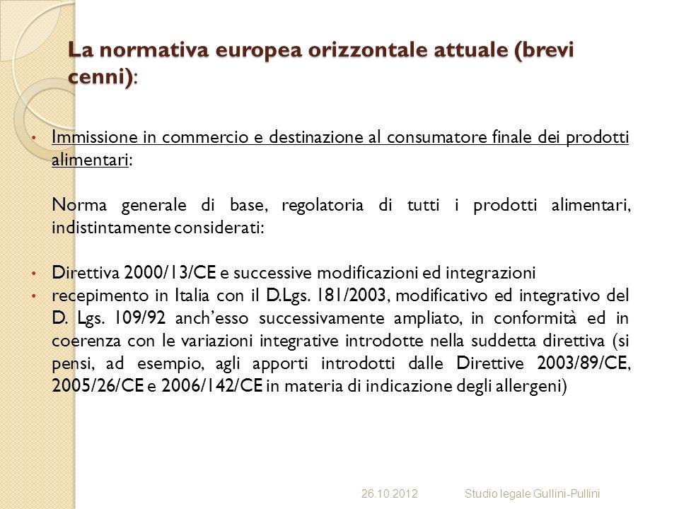 La normativa europea orizzontale attuale (brevi cenni):