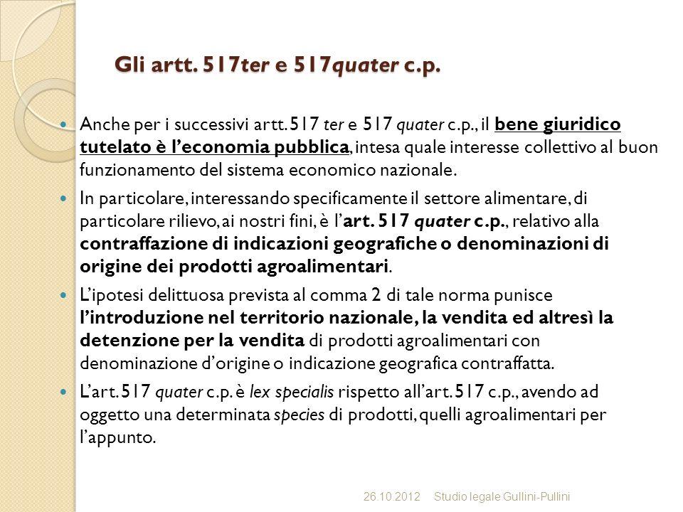 Gli artt. 517ter e 517quater c.p.