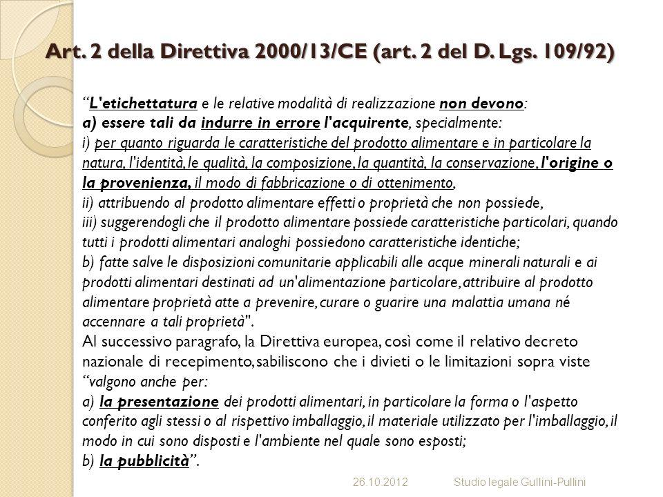 Art. 2 della Direttiva 2000/13/CE (art. 2 del D. Lgs. 109/92)