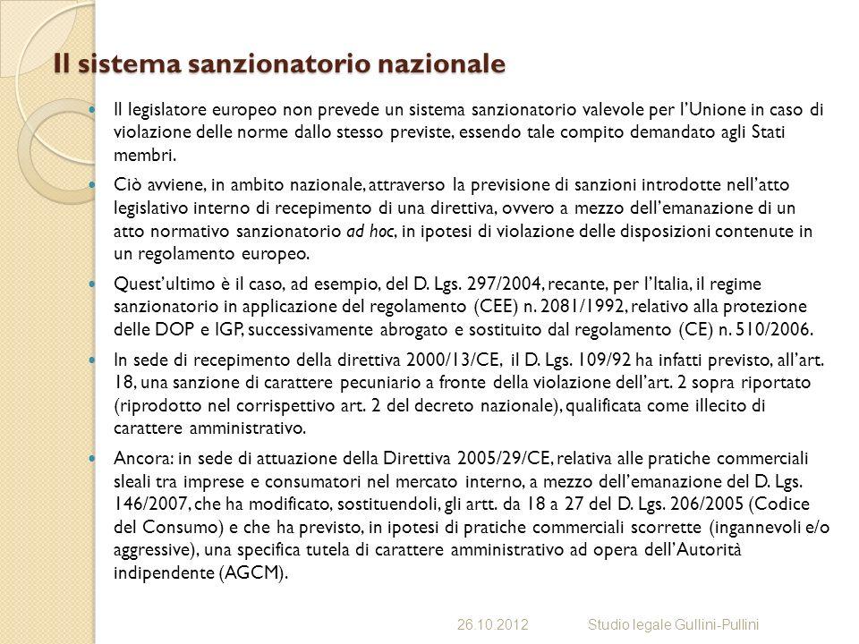 Il sistema sanzionatorio nazionale