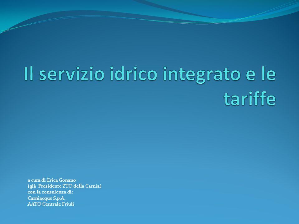 Il servizio idrico integrato e le tariffe