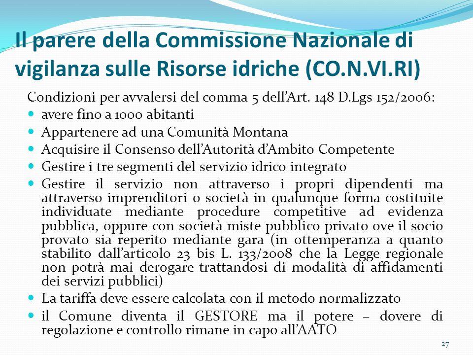 Il parere della Commissione Nazionale di vigilanza sulle Risorse idriche (CO.N.VI.RI)