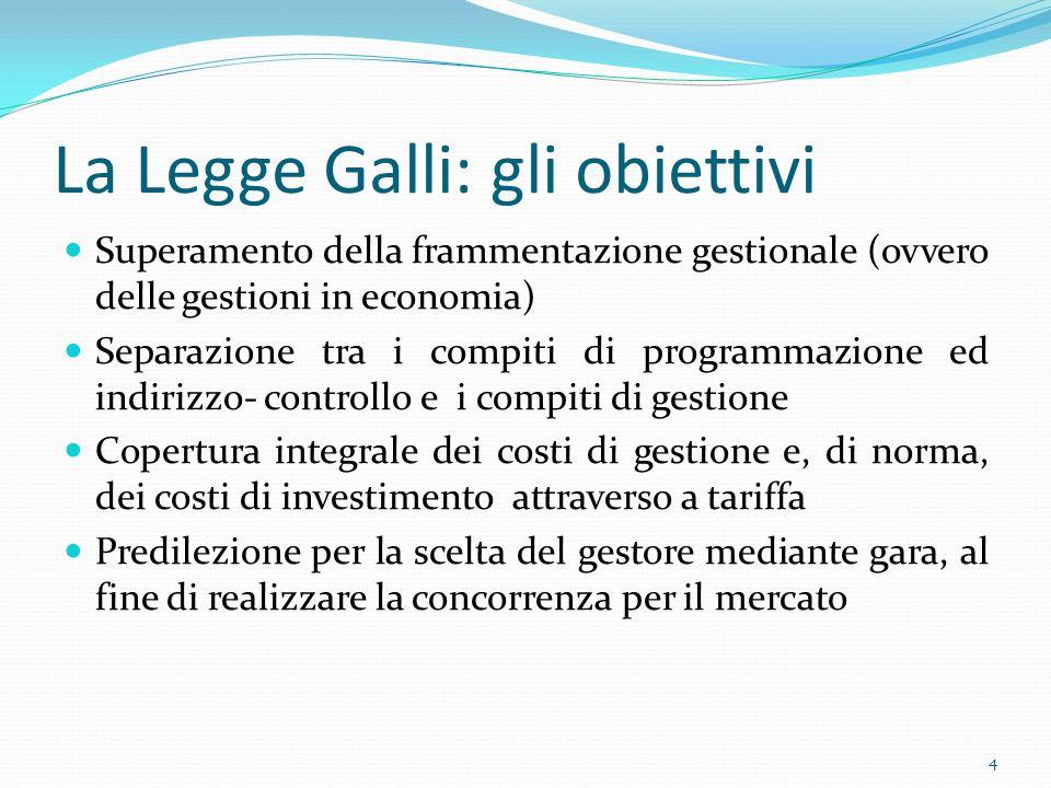 La Legge Galli: gli obiettivi