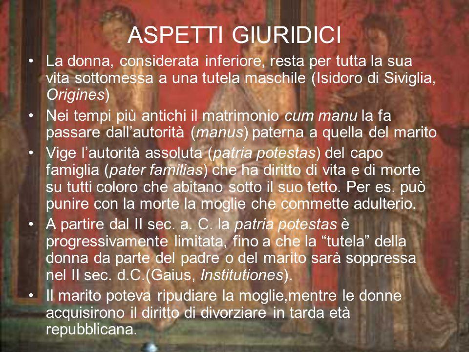 ASPETTI GIURIDICI La donna, considerata inferiore, resta per tutta la sua vita sottomessa a una tutela maschile (Isidoro di Siviglia, Origines)