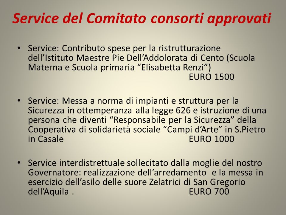 Service del Comitato consorti approvati