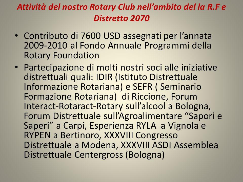 Attività del nostro Rotary Club nell'ambito del la R