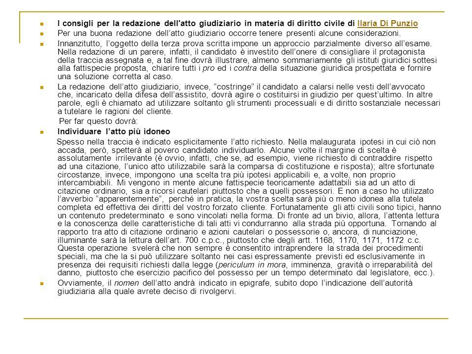I consigli per la redazione dell atto giudiziario in materia di diritto civile di Ilaria Di Punzio