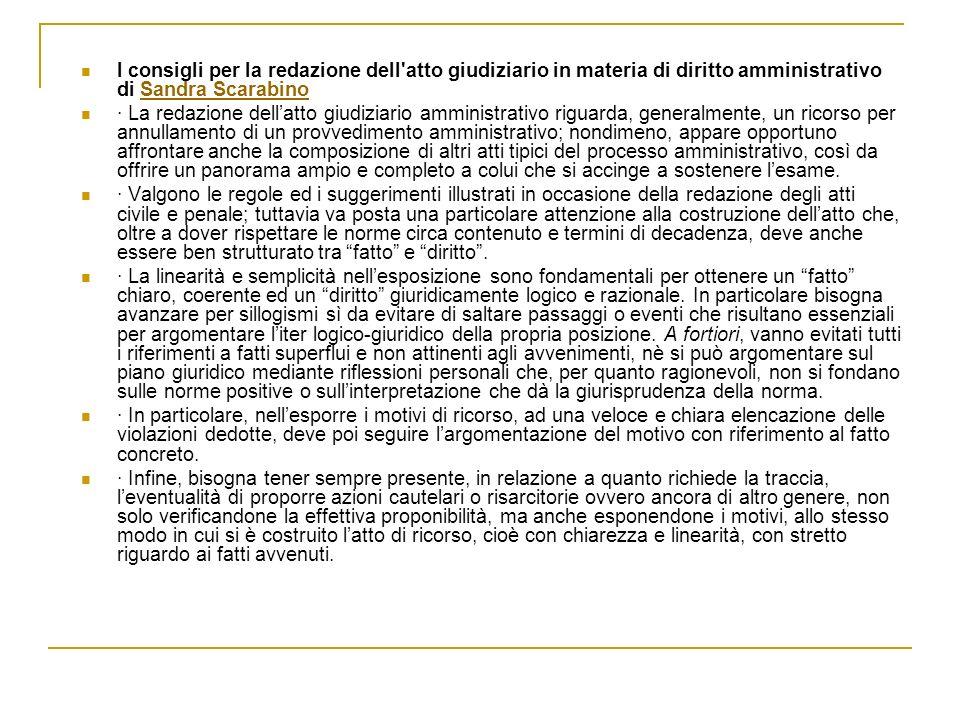 I consigli per la redazione dell atto giudiziario in materia di diritto amministrativo di Sandra Scarabino