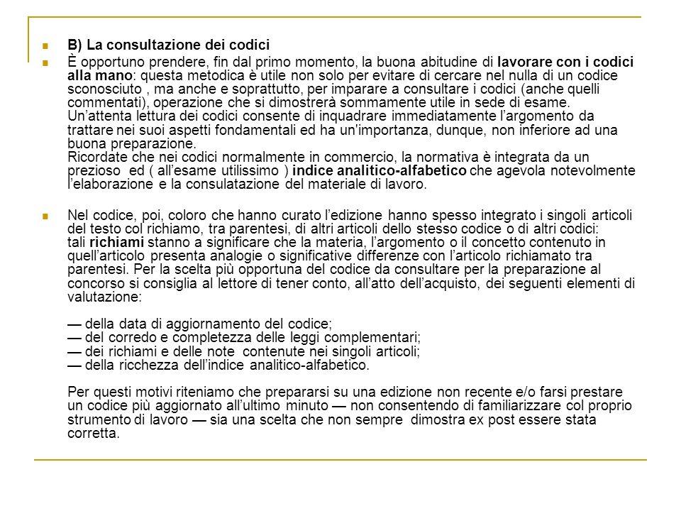 B) La consultazione dei codici