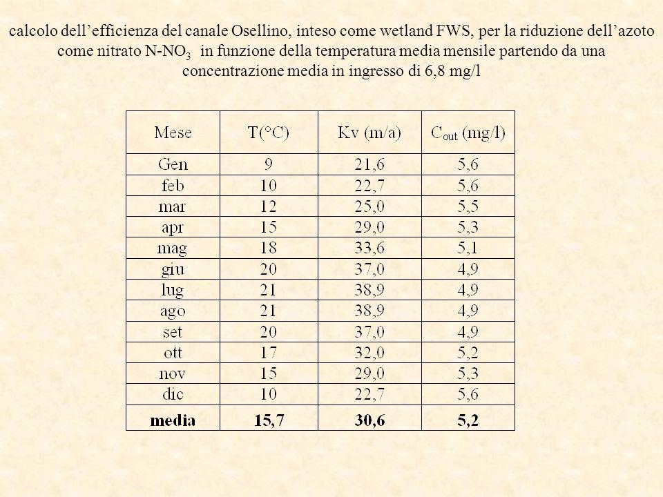 calcolo dell'efficienza del canale Osellino, inteso come wetland FWS, per la riduzione dell'azoto come nitrato N-NO3 in funzione della temperatura media mensile partendo da una concentrazione media in ingresso di 6,8 mg/l