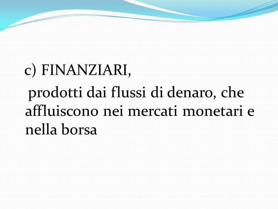 c) FINANZIARI, prodotti dai flussi di denaro, che affluiscono nei mercati monetari e nella borsa