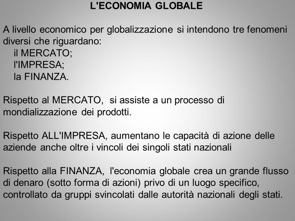 L ECONOMIA GLOBALE A livello economico per globalizzazione si intendono tre fenomeni diversi che riguardano: il MERCATO; l IMPRESA; la FINANZA.
