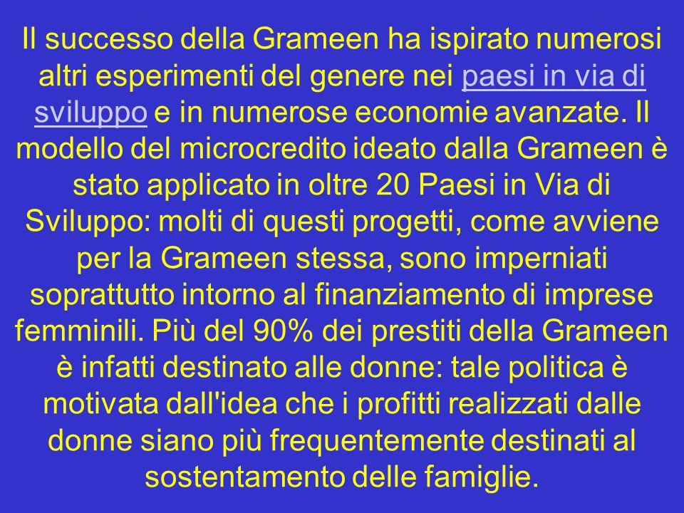 Il successo della Grameen ha ispirato numerosi altri esperimenti del genere nei paesi in via di sviluppo e in numerose economie avanzate.