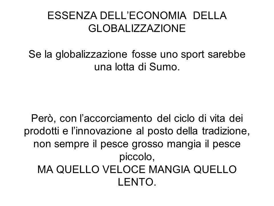 ESSENZA DELL'ECONOMIA DELLA GLOBALIZZAZIONE Se la globalizzazione fosse uno sport sarebbe una lotta di Sumo.
