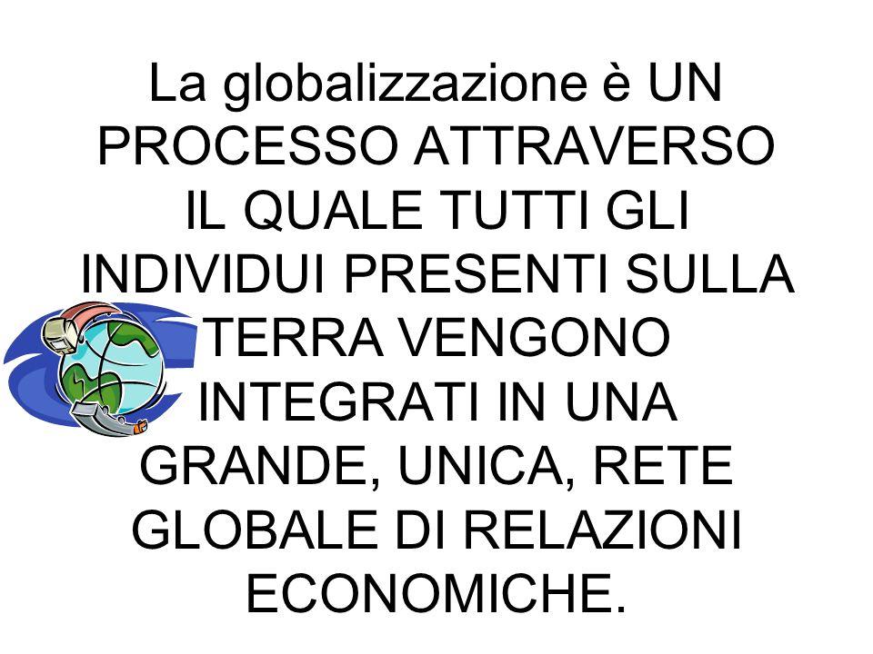 LA GLOBALIZZAZIONE La globalizzazione è UN PROCESSO ATTRAVERSO IL QUALE TUTTI GLI INDIVIDUI PRESENTI SULLA TERRA VENGONO INTEGRATI IN UNA GRANDE, UNICA, RETE GLOBALE DI RELAZIONI ECONOMICHE.