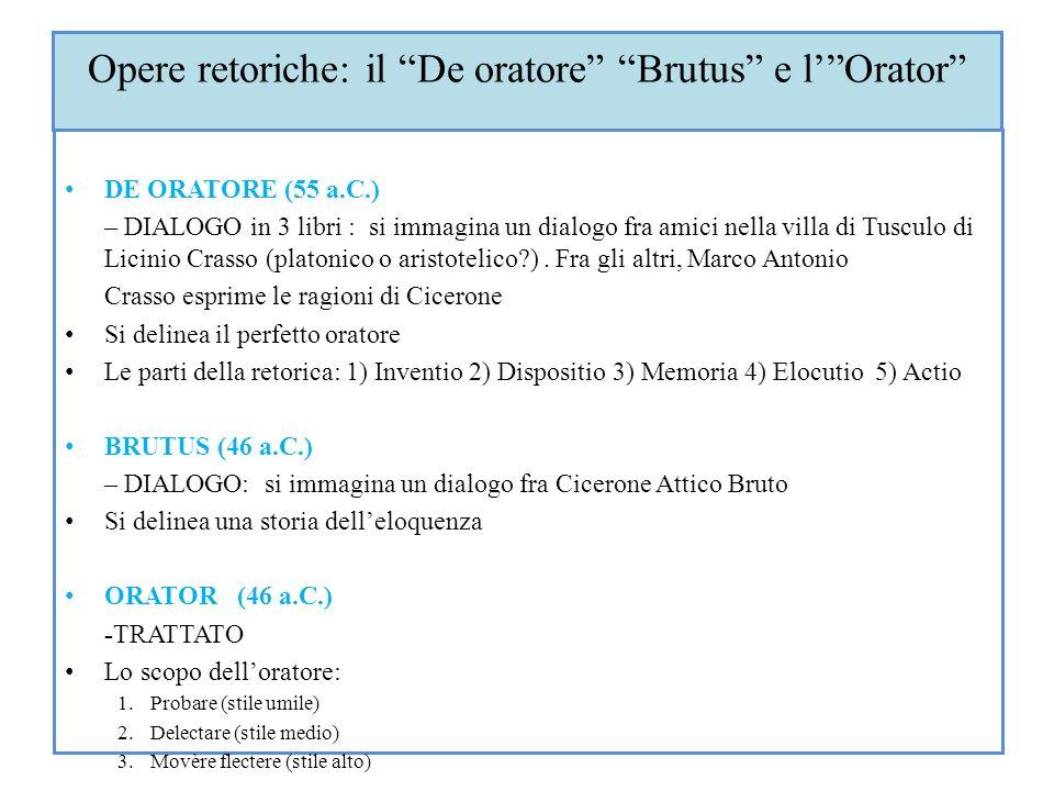 Opere retoriche: il De oratore Brutus e l' Orator