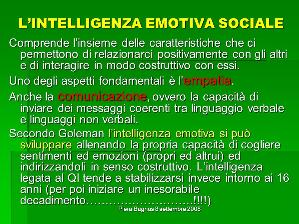 L'INTELLIGENZA EMOTIVA SOCIALE