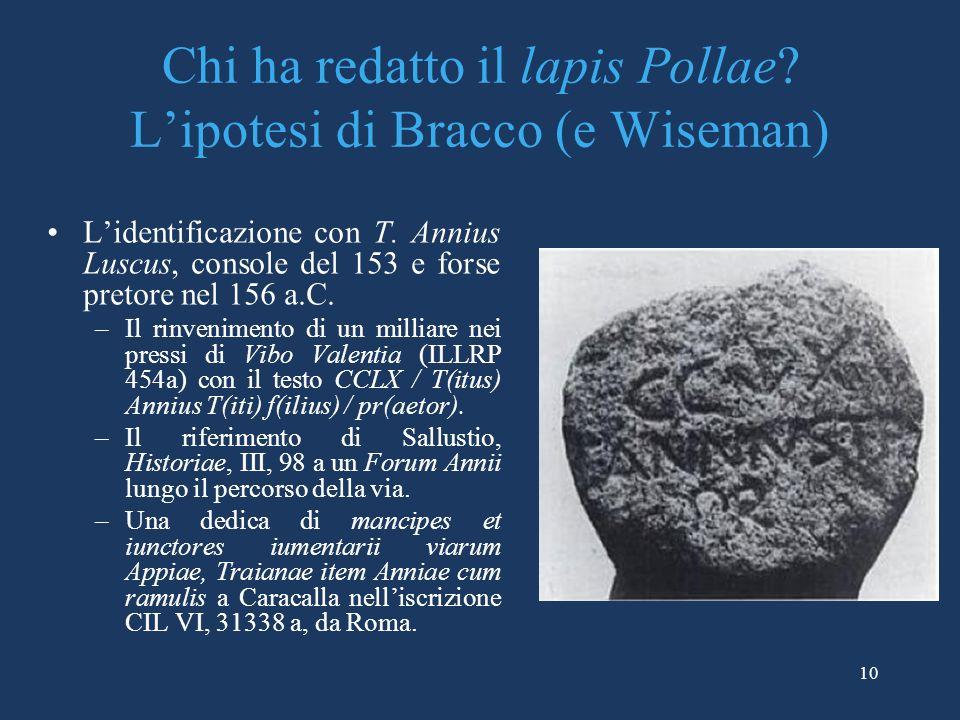 Chi ha redatto il lapis Pollae L'ipotesi di Bracco (e Wiseman)