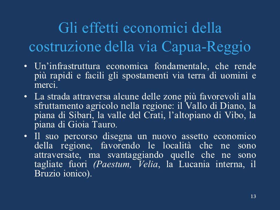 Gli effetti economici della costruzione della via Capua-Reggio