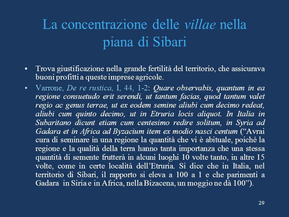 La concentrazione delle villae nella piana di Sibari