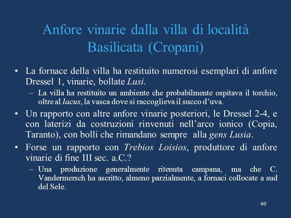 Anfore vinarie dalla villa di località Basilicata (Cropani)