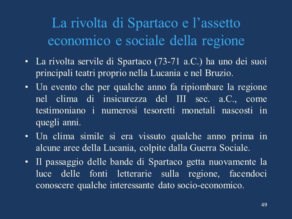 La rivolta di Spartaco e l'assetto economico e sociale della regione