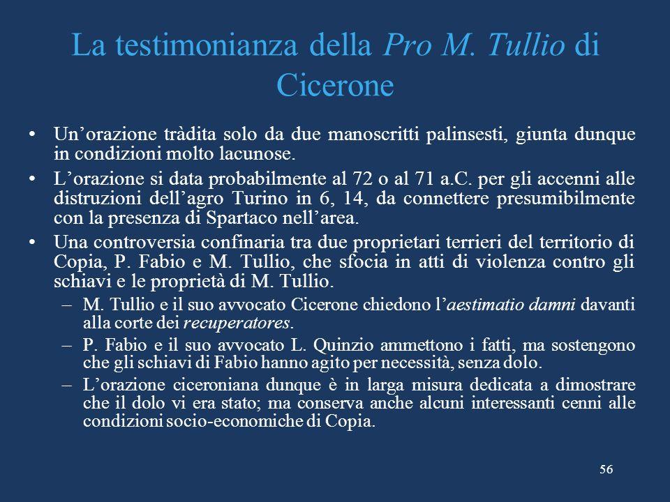La testimonianza della Pro M. Tullio di Cicerone
