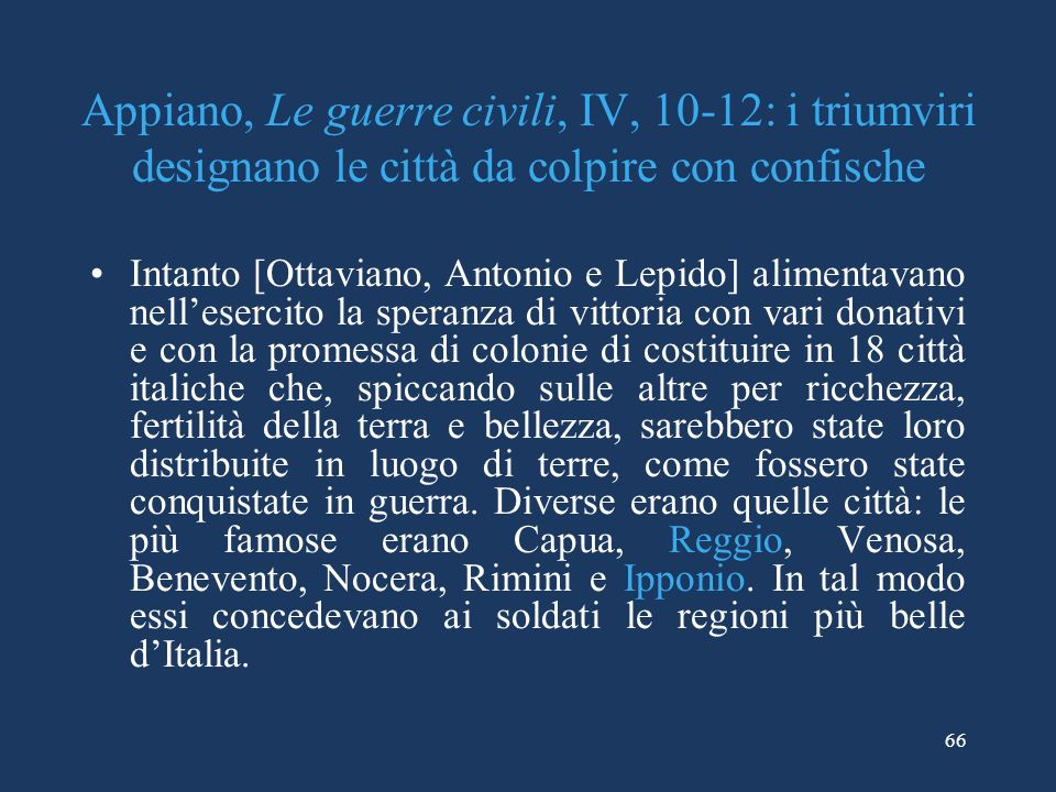 Appiano, Le guerre civili, IV, 10-12: i triumviri designano le città da colpire con confische