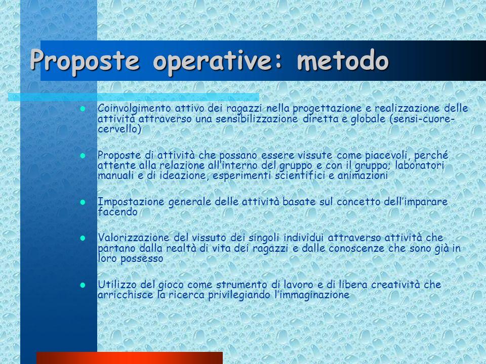 Proposte operative: metodo