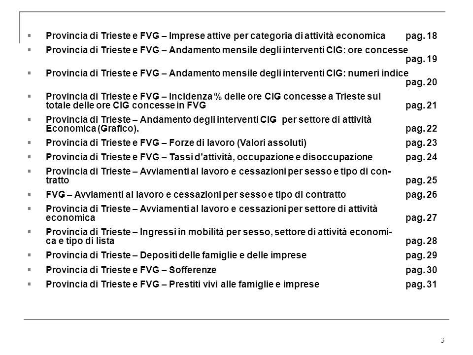 Provincia di Trieste e FVG – Imprese attive per categoria di attività economica pag. 18