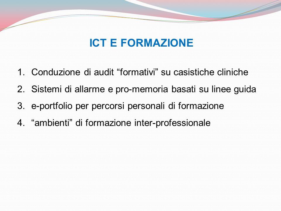 ICT E FORMAZIONE Conduzione di audit formativi su casistiche cliniche. Sistemi di allarme e pro-memoria basati su linee guida.