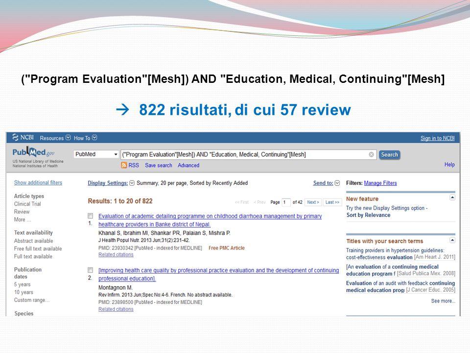  822 risultati, di cui 57 review