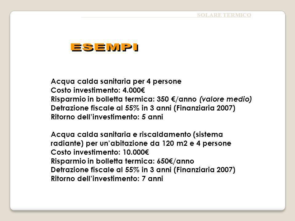 Acqua calda sanitaria per 4 persone Costo investimento: 4.000€