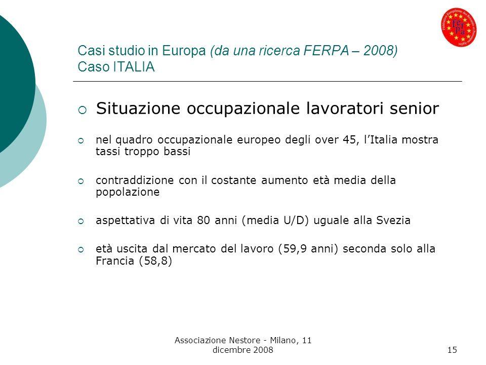 Casi studio in Europa (da una ricerca FERPA – 2008) Caso ITALIA