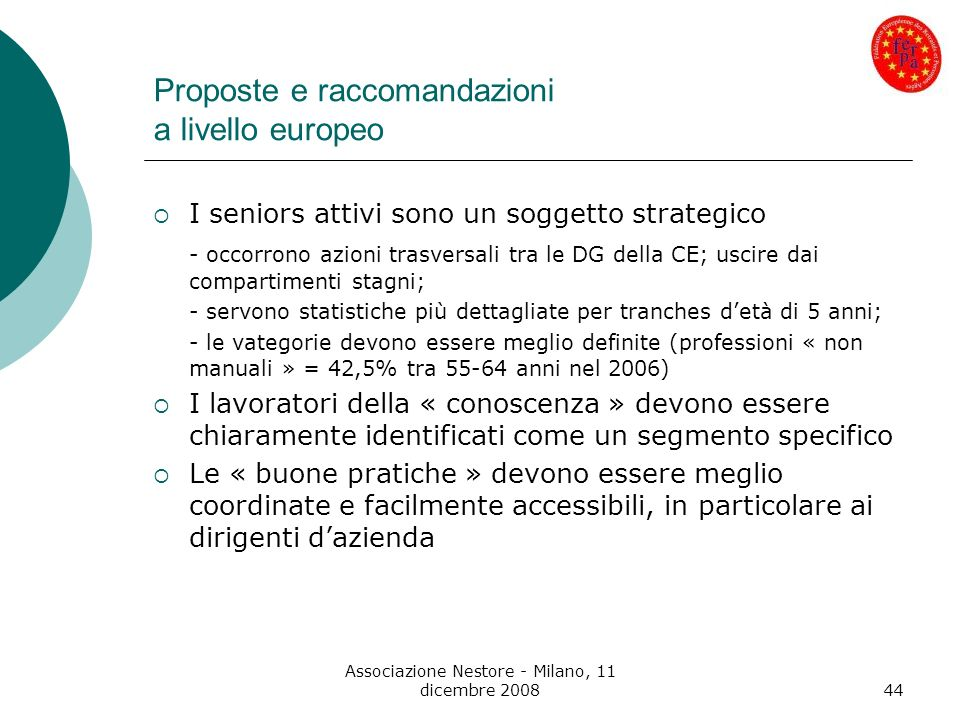 Proposte e raccomandazioni a livello europeo
