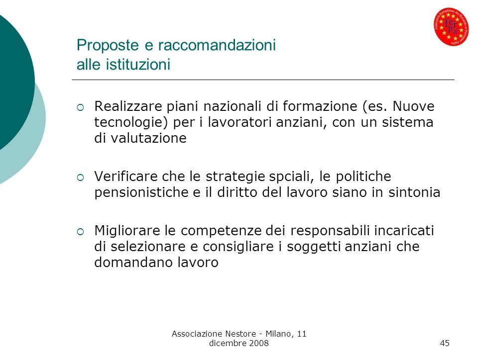 Proposte e raccomandazioni alle istituzioni